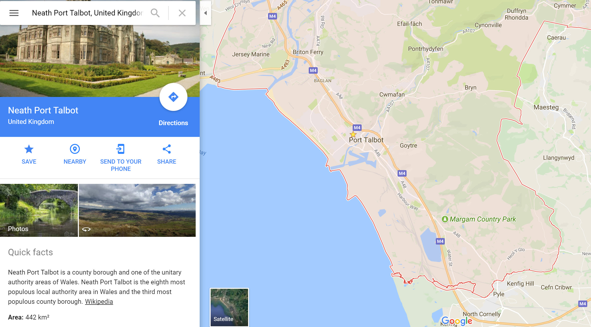 Port Talbot Google map screen shot